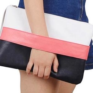 Lady Day Bag Contrast Clutch - White Pink Black